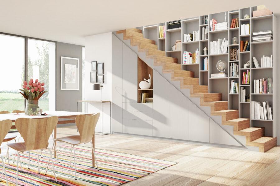 rangement sous escalier avec porte